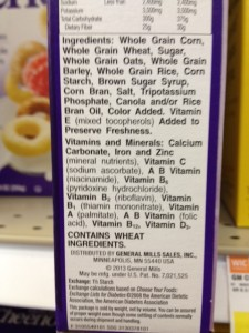 Cheerios MG label