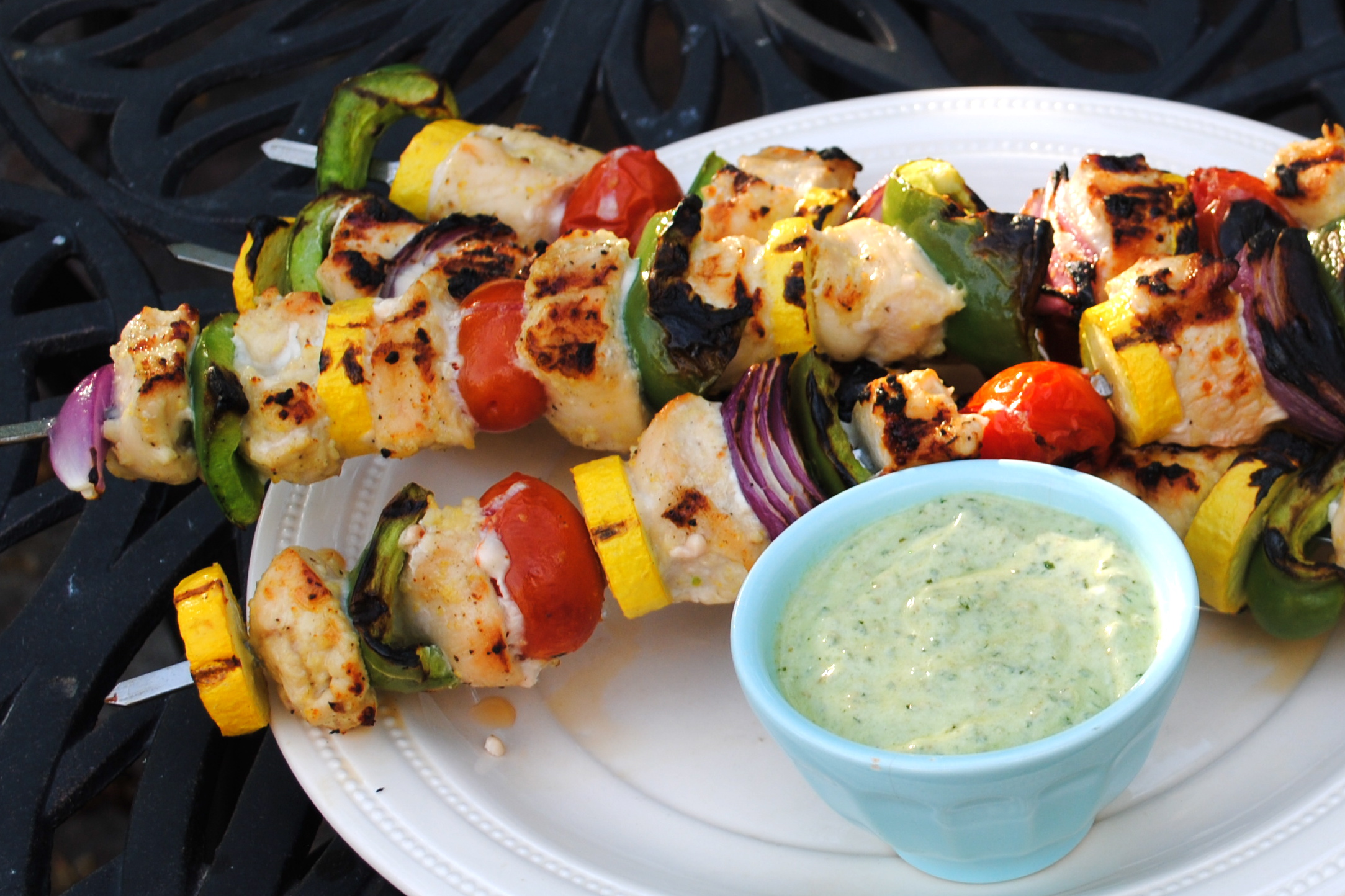Chicken and Vegetable Kebabs with Creamy Pesto Dipping Sauce