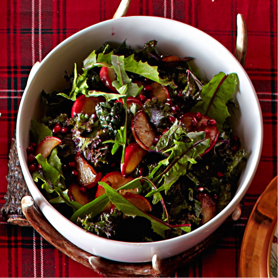 Kale Salad with Roasted Apples and Pomegranate